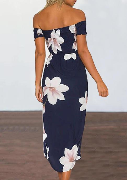 Floral Strapless Off Shoulder Slit Asymmetric Midi Dress - Navy Blue