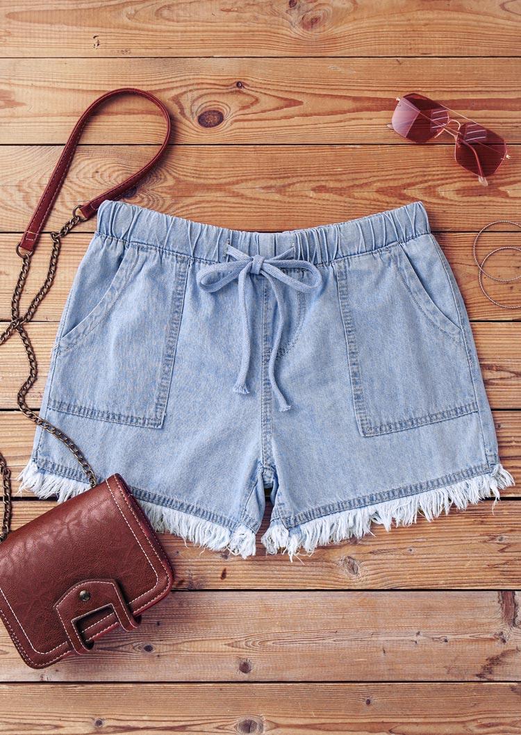 Tassel Frayed Hem Pocket Denim Shorts - Light Blue