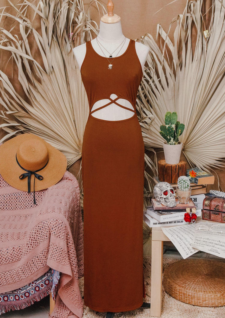 Hollow Out Criss-Cross Slit Bodycon Dress - Brown