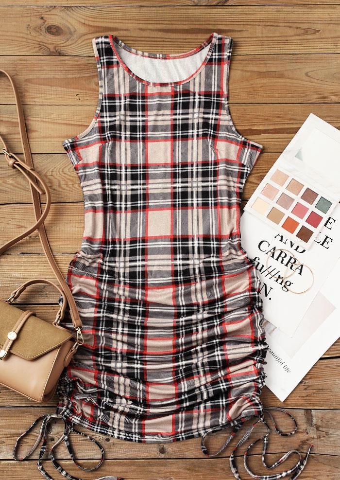 Plaid Drawstring Sleeveless O-Neck Bodycon Dress