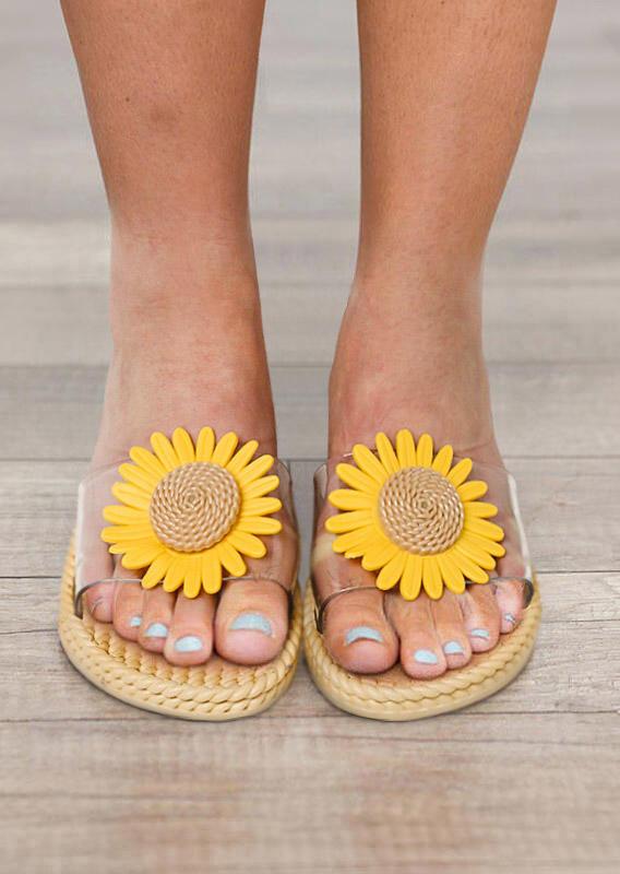 Summer Sunflower Slip On Flat Beach Slippers