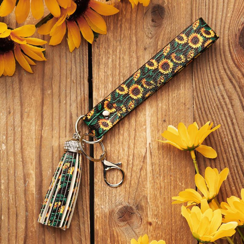 Daisy Sunflower Wristlet Strap Rhinestone Tassel Keychain
