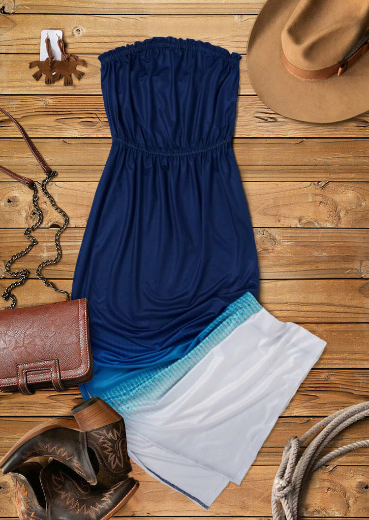 Gradient Ruffled Slit Strapless Maxi Dress - Navy Blue