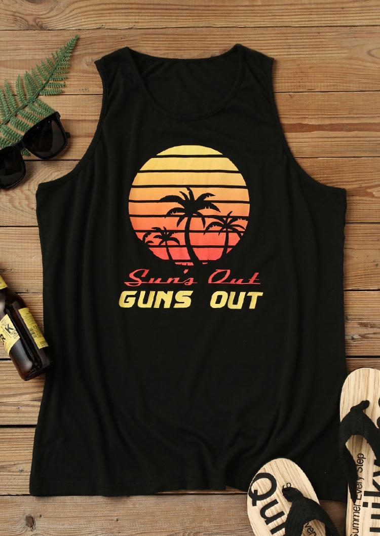 Men Sun's Out Guns Out Beach Coconut Tree Tank - Black