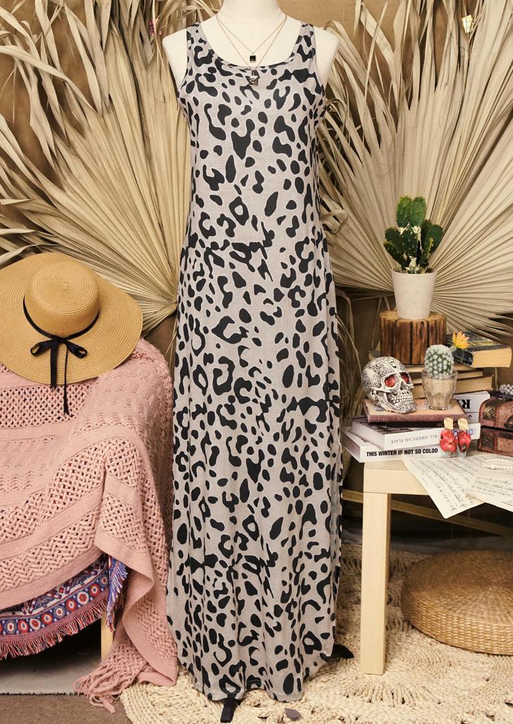 Leopard Slit Sleeveless O-Neck Maxi Dress