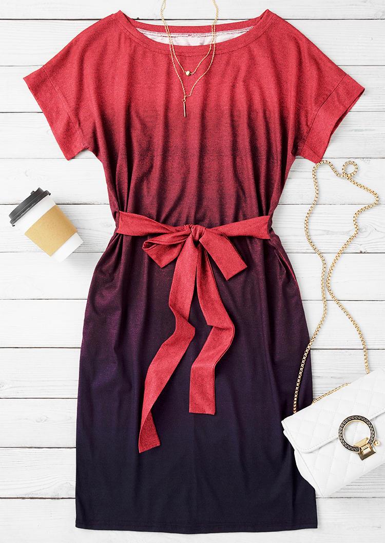 Gradient Pocket Tie Mini Dress - Plum