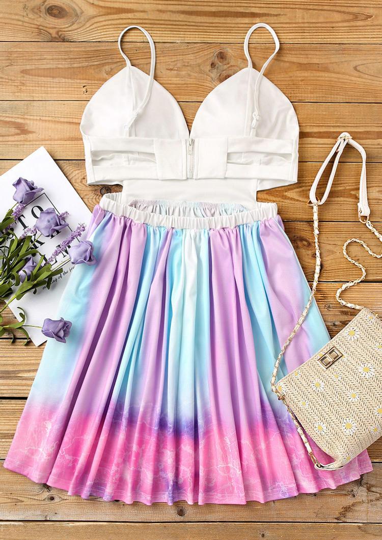Gradient Tie Dye Ruffled Hollow Out Zipper Mini Dress