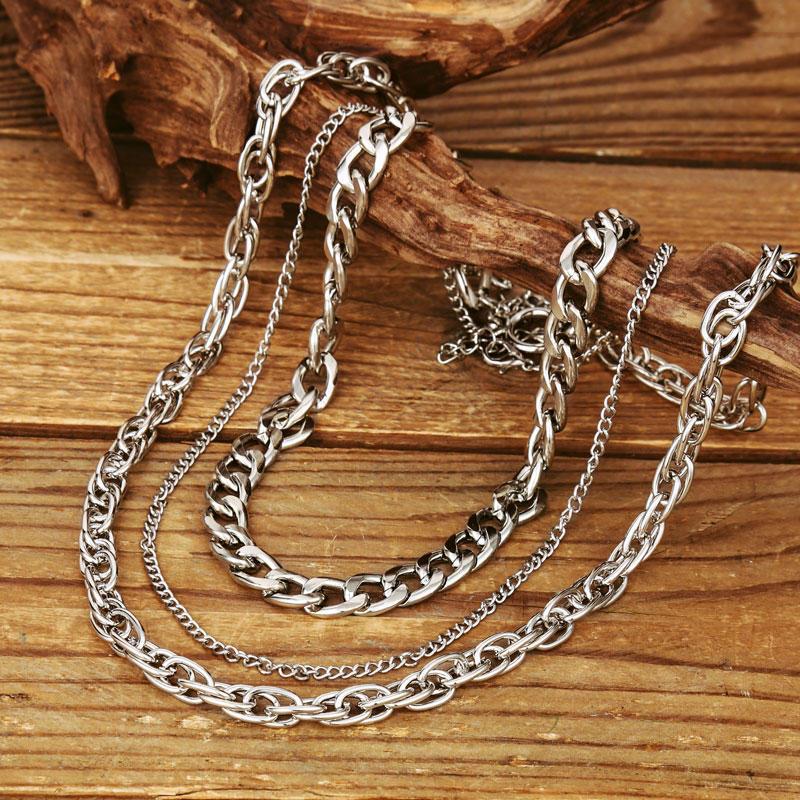 3Pcs Hip-Hop Style Rapper Chain Alloy Necklace Set
