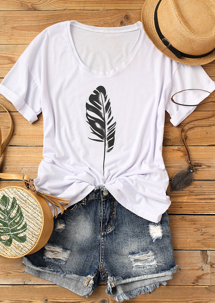 Feather Loose O-Neck T-Shirt Tee - White