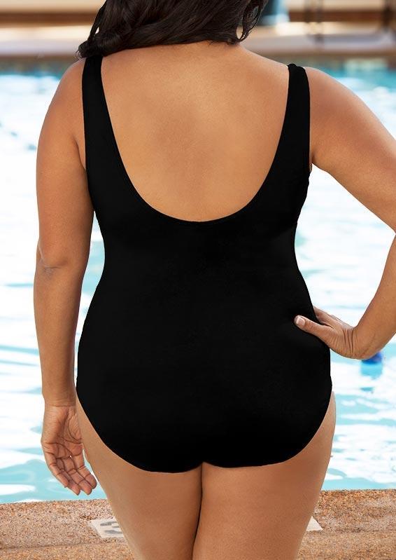 Plus Size Color Block Open Back One-Piece Swimwear - Black