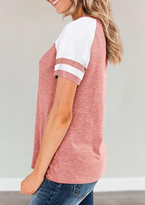 Color Block Raglan Sleeve Blouse - Pink