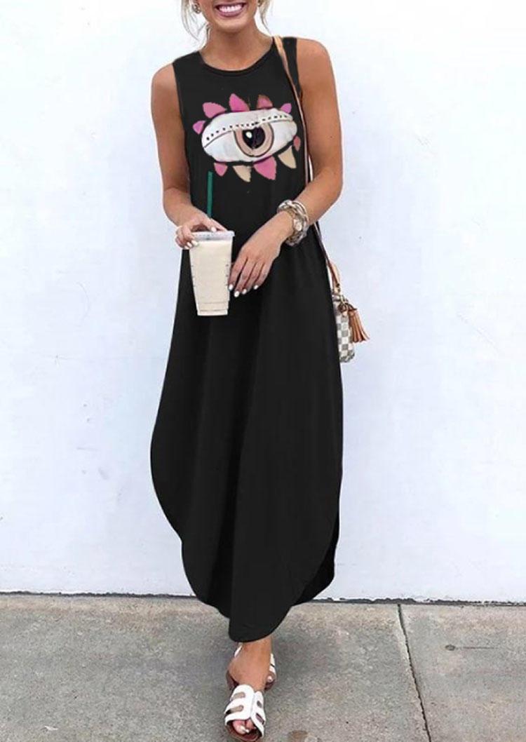 Evil Eye Pocket Sleeveless Maxi Dress - Black