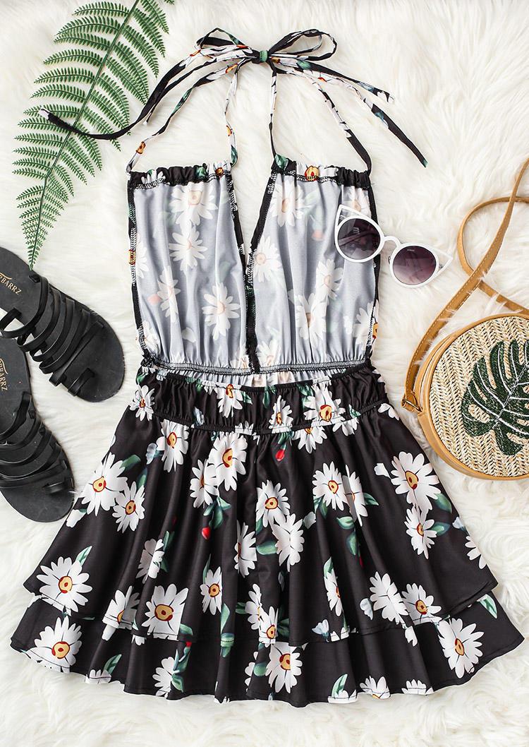 Daisy Ruffled Open Back Layered Halter Mini Dress - Black