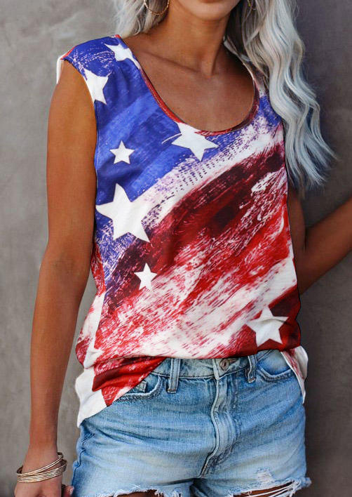 American Flag Star O-Neck Casual Tank