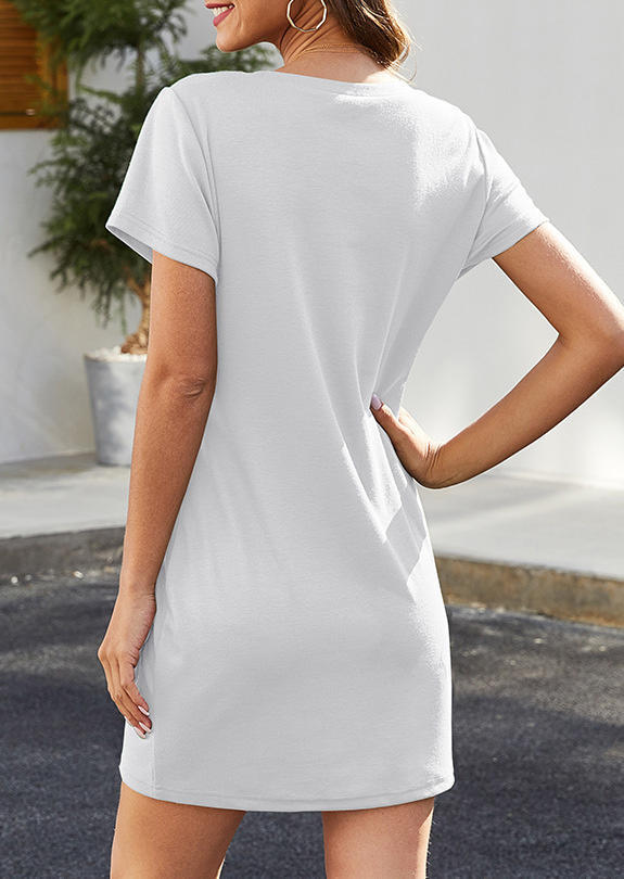 Zipper Short Sleeve O-Neck Mini Dress - White