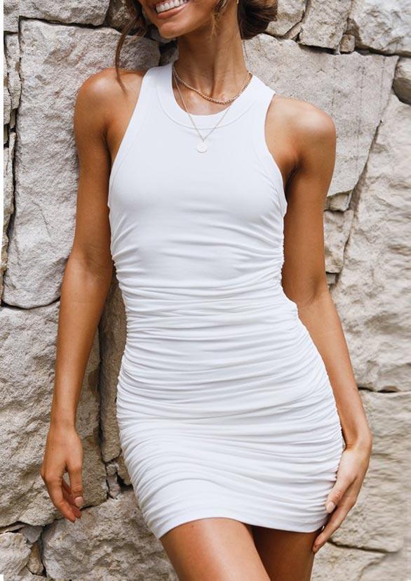 Ruched O-Neck Sleeveless Bodycon Dress - White