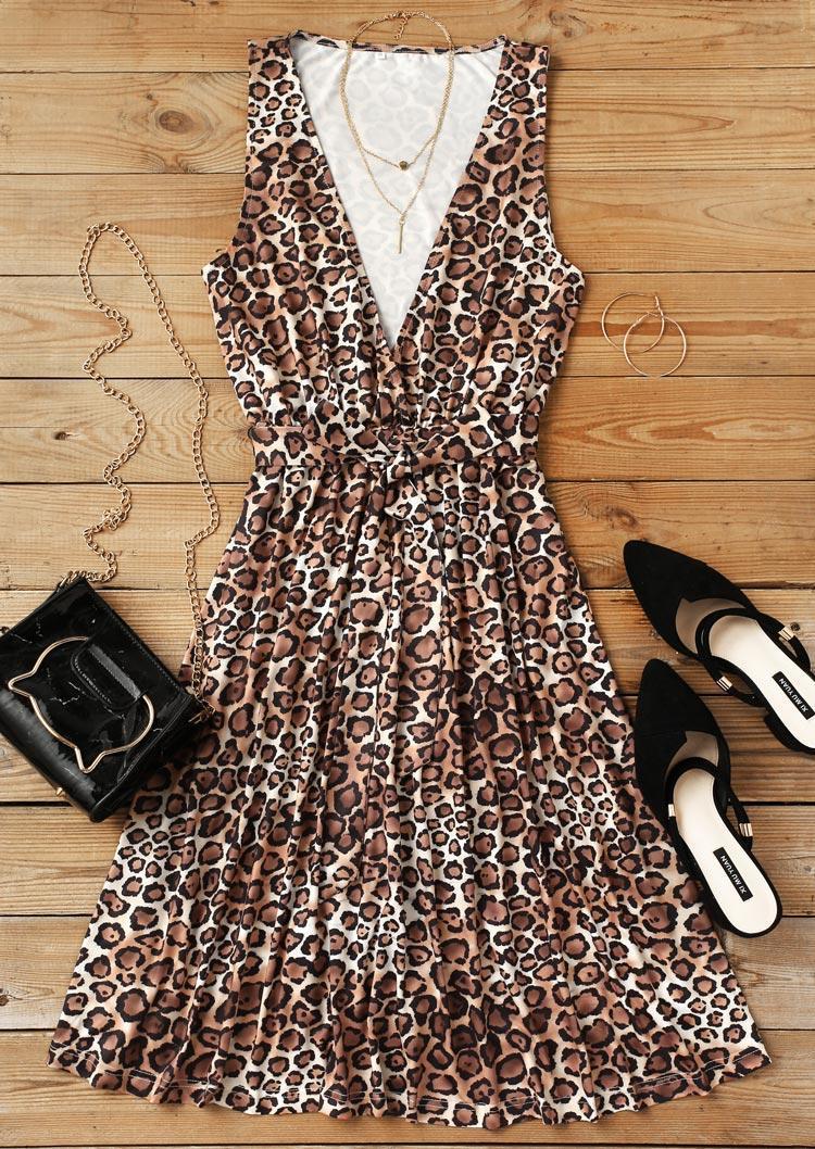 Leopard Wrap V-Neck Sleeveless Mini Dress