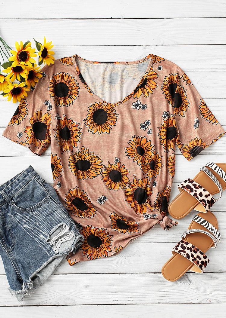 Sunflower V-Neck Loose T-Shirt Tee