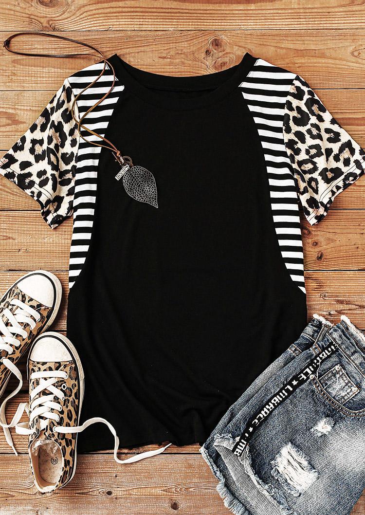 Leopard Striped Splicing O-Neck Blouse - Black