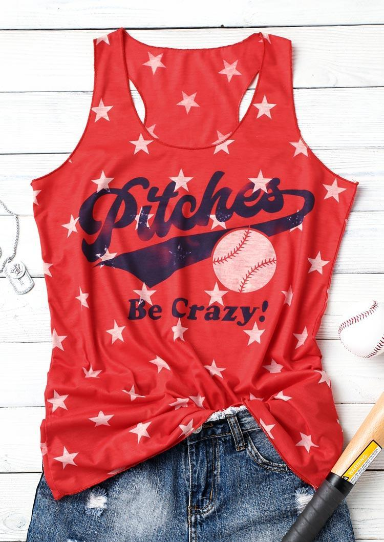 Pitches Be Crazy Baseball Star Racerback Tank - Red