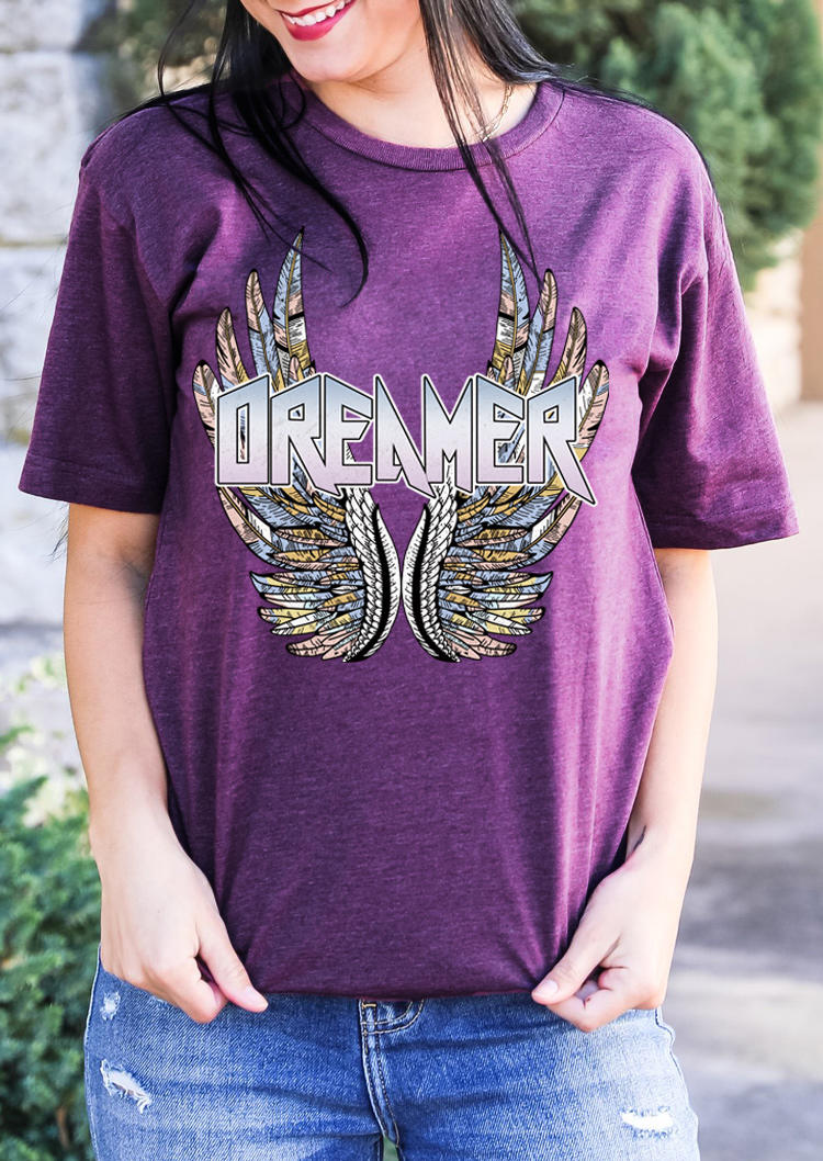 Vintage Wings Dreamer T-Shirt Tee - Purple