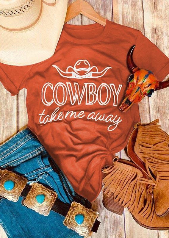 Cowboy Take Me Away T-Shirt Tee - Orange
