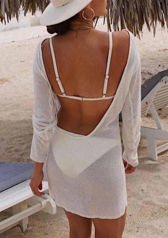 Open Back Long Sleeve Mini Dress - White