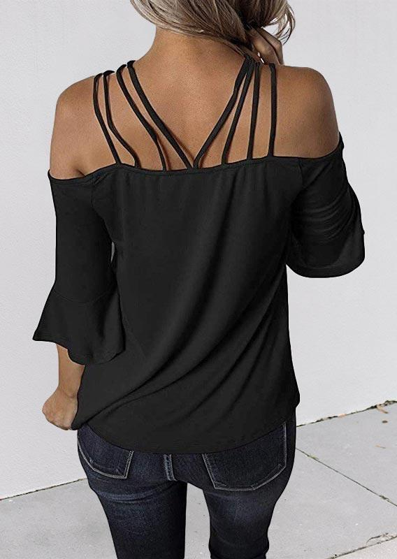 Hollow Out Spaghetti Strap Off Shoulder Blouse - Black