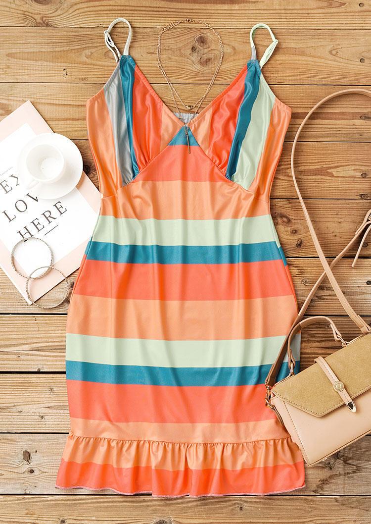 Striped Color Block Ruffled Bodycon Dress