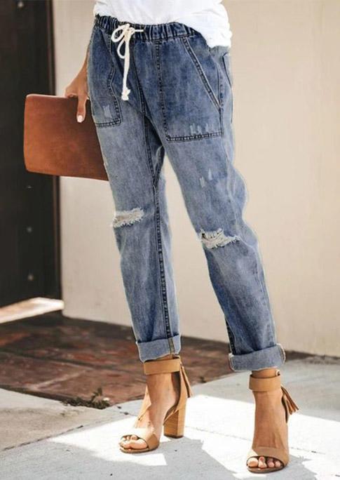 Ripped Hole Drawstring Elastic Waist Pocket Denim Jeans