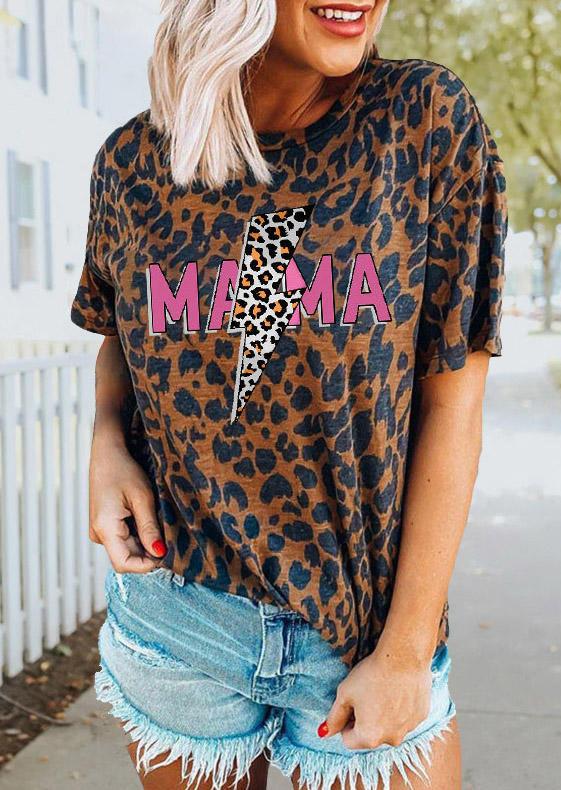 Mama Leopard Lightning O-Neck T-Shirt Tee