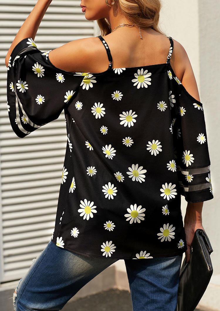 Daisy Mesh Splicing Cold Shoulder Blouse -  Black