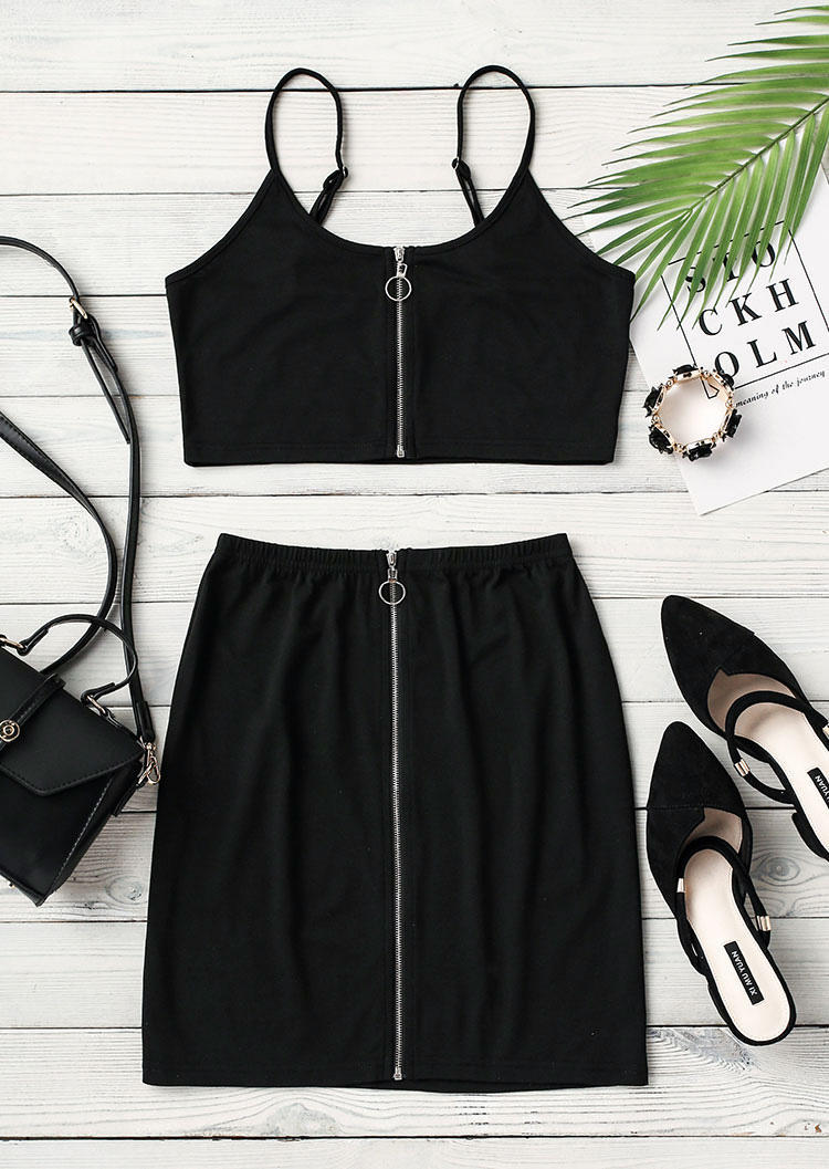 Zipper Camisole And High Wais Mini Skirt Outfit - Black