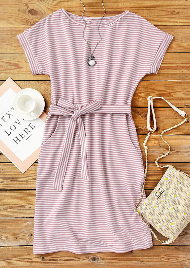 Striped Pocket Tie Mini Dress - Cameo Brown