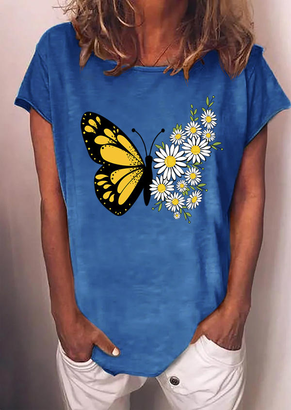 Butterfly Daisy O-Neck T-Shirt Tee - Blue