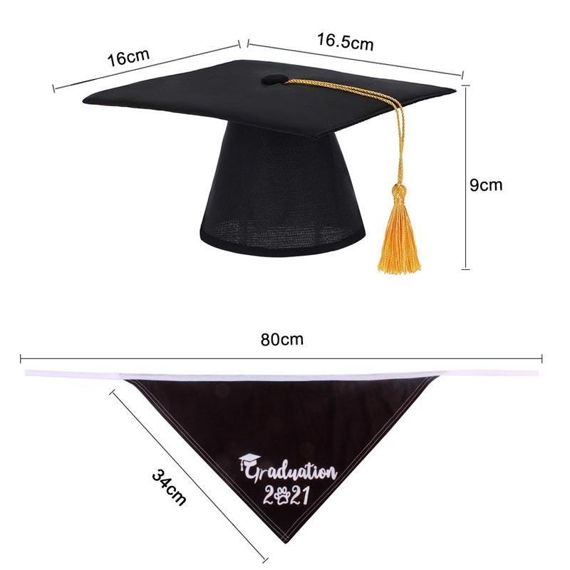 2Pcs Adjustable Pet Graduate Hat And Triangle Scarf Set