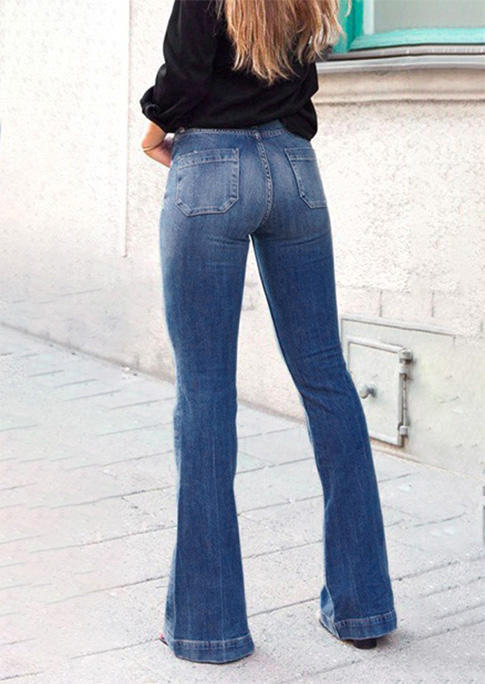 Button Pocket Distressed Flare Denim Jeans - Blue