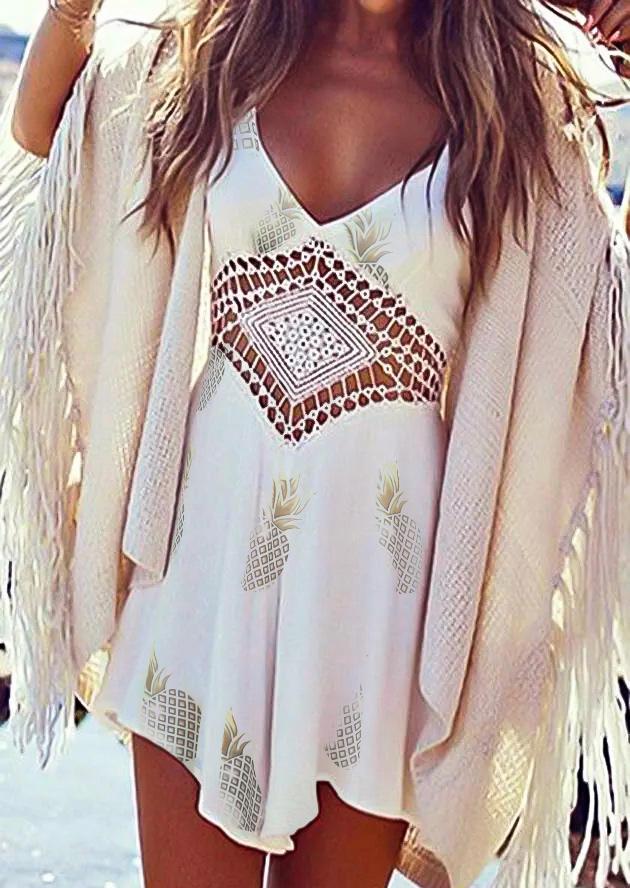 Pineapple Hollow Out Crochet Asymmetric Mini Dress - White
