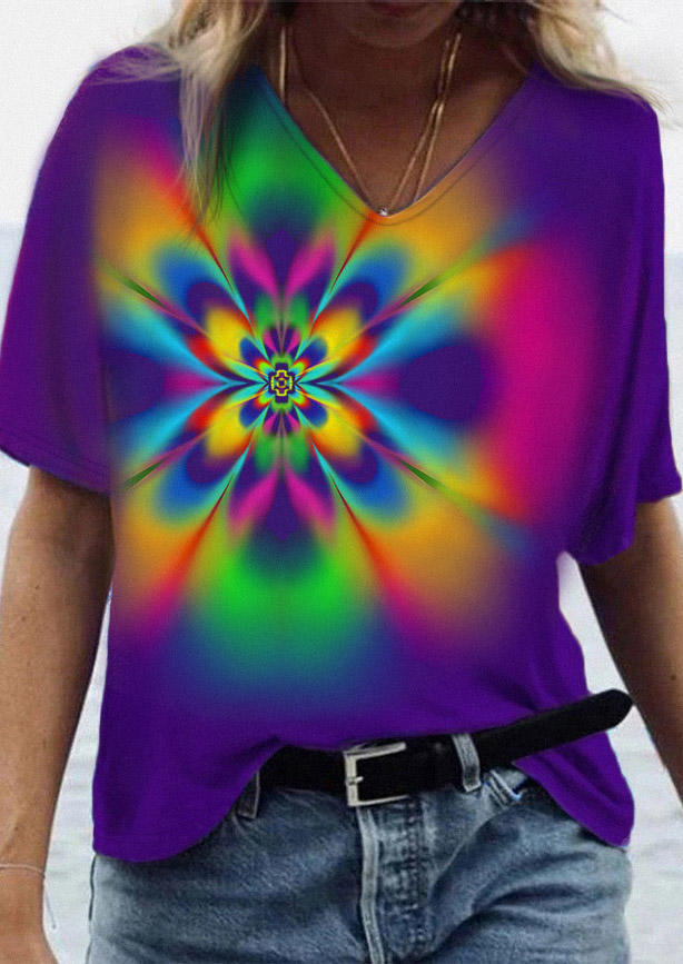Colorful Abstract Gradient Flower Blouse - Purple