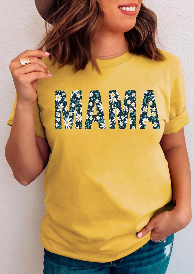 Mama Daisy T-Shirt Tee - Yellow
