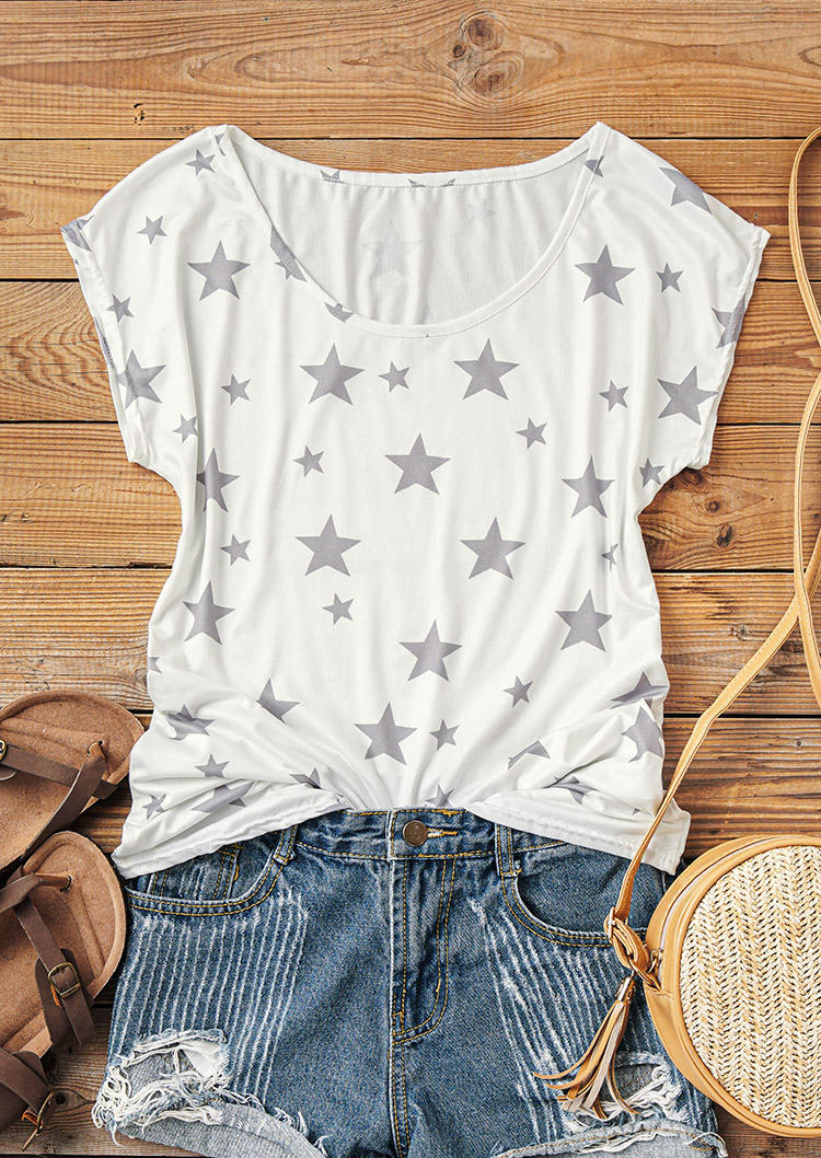 Star O-Neck T-Shirt Tee -  White