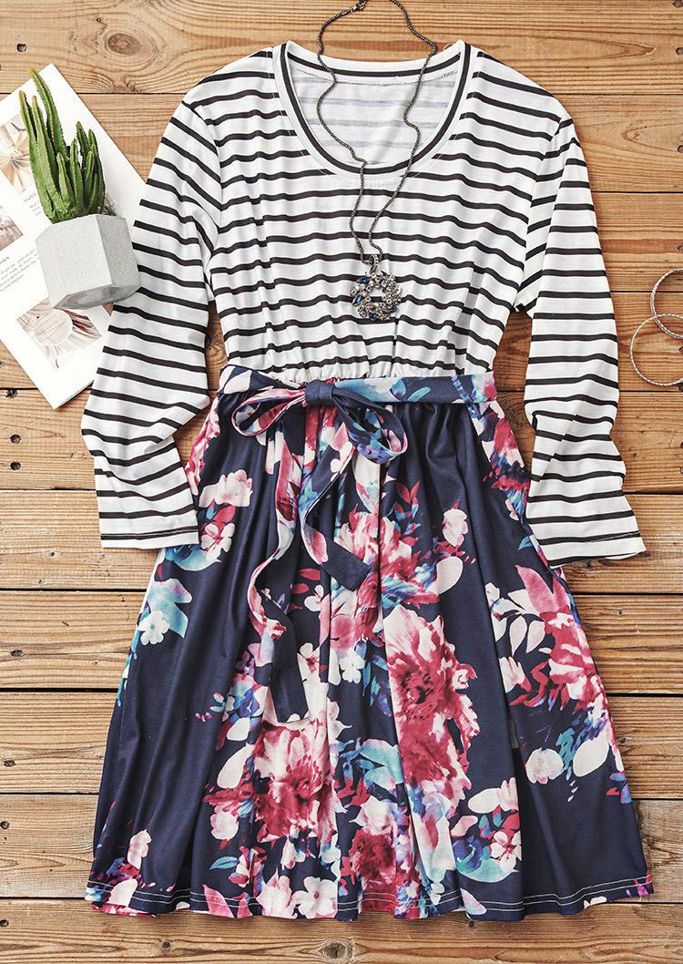 Striped Floral O-Neck Mini Dress