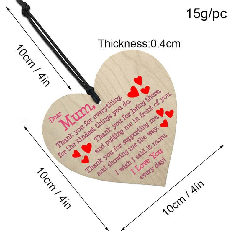 Mum I Love You Wooden Heart Hanging Ornament