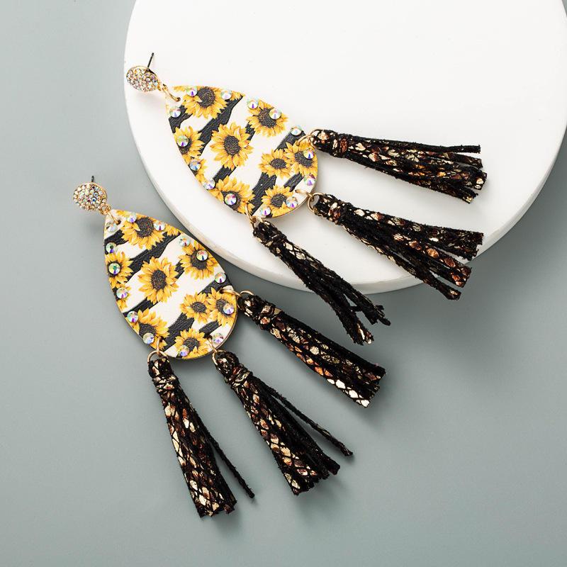 Sunflower Striped Rhinestone Tassel PU Leather Earrings
