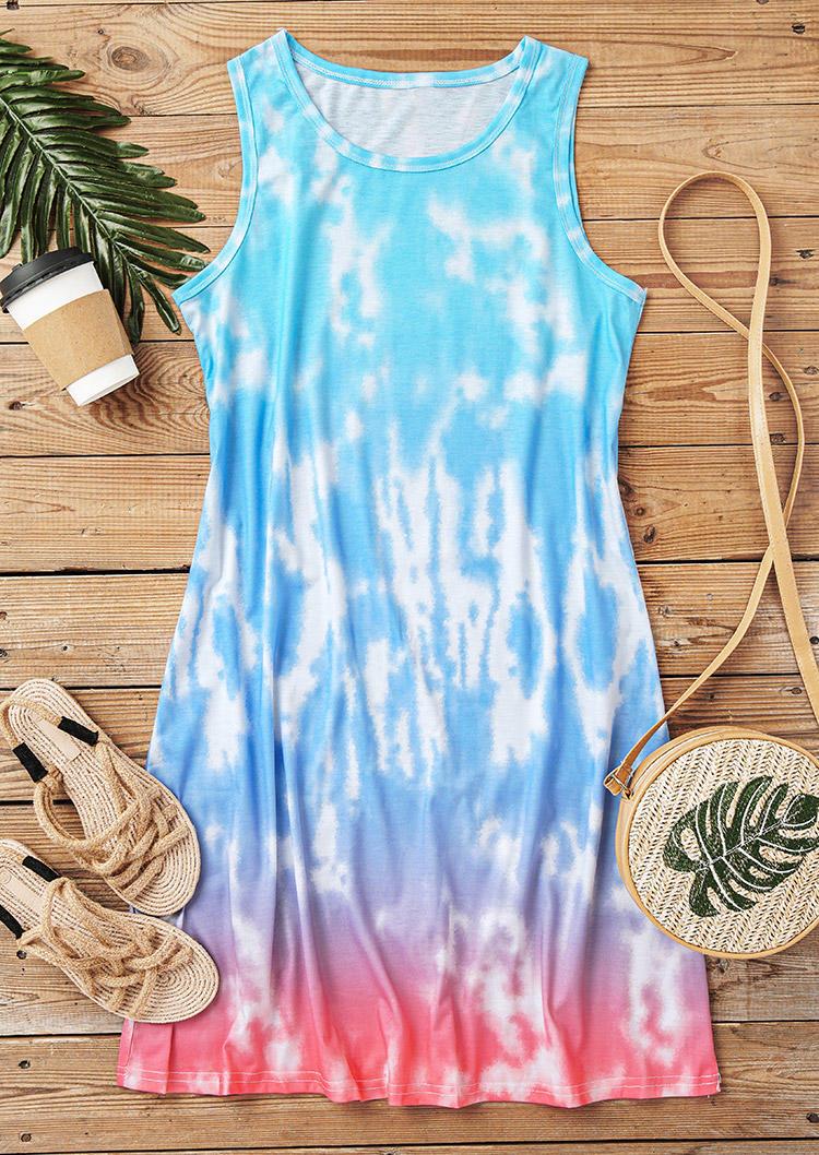 Gradient Tie Dye Sleeveless Mini Dress