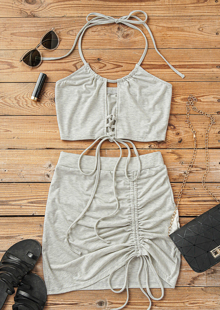 Criss-Cross Camisole And Drawstring Mini Skirt Outfit - Light Grey