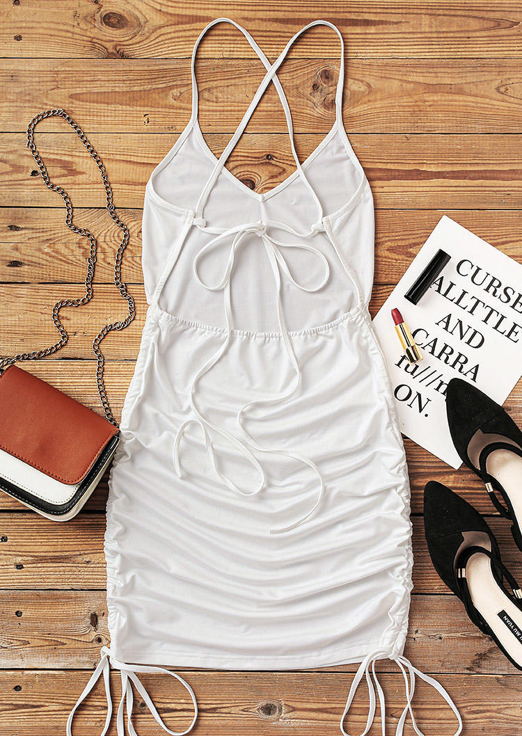 Drawstring Tie Ruched Open Back Bodycon Dress - White