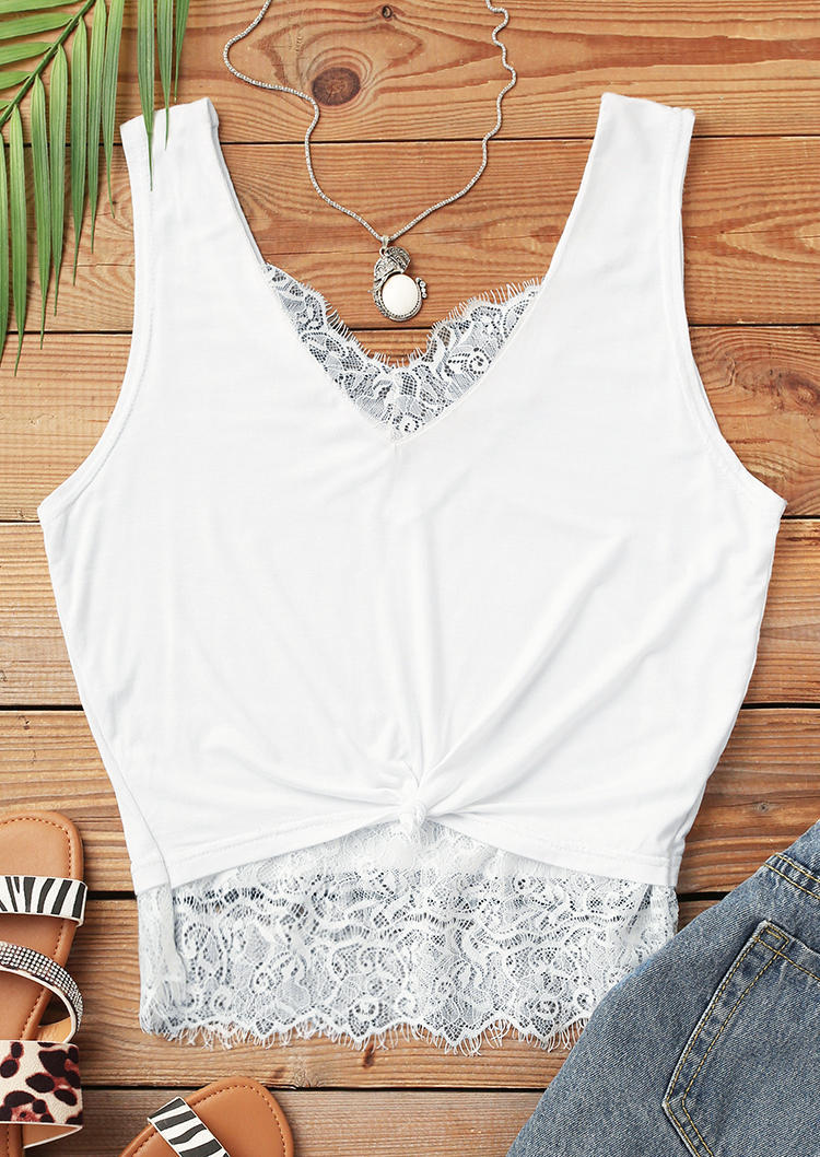 Lace Splicing Twist Crop Top - White
