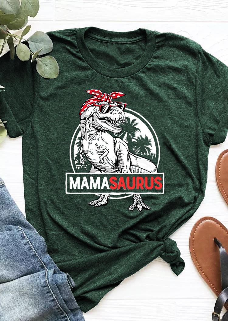 Mama Saurus Polka Dot T-Shirts Tee - Dark Green