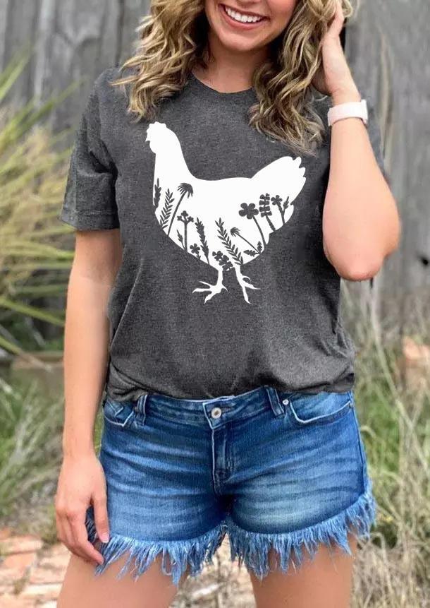 Farm Floral Chicken O-Neck T-Shirt Tee - Dark Grey